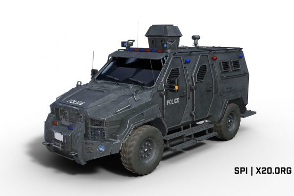 armored bulletproof police vehicle with thermal cameras