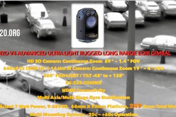 ultra light rugged long range EO IR gyro stabilized gimbal