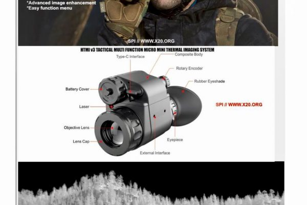 helmet mounted micro thermal imaging system with rangefinder and laser duo zoom mode