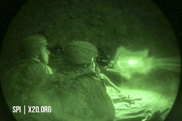 Military live fire viewed through white phosphorus night vision