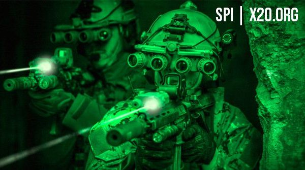 Quad view Night vision special forces laser site weapon site with redical ops tactical