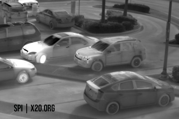 White hot thermal images of parking lot