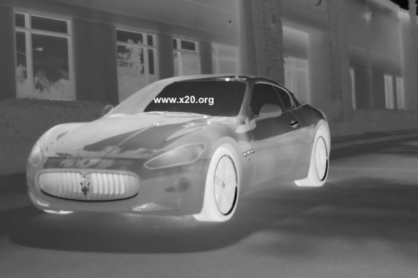 white hot thermal image of car