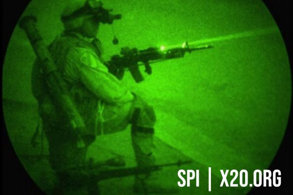 white phosphorus Night Vision Military warrior special forces with helmet mount goggles and weapon sights, and